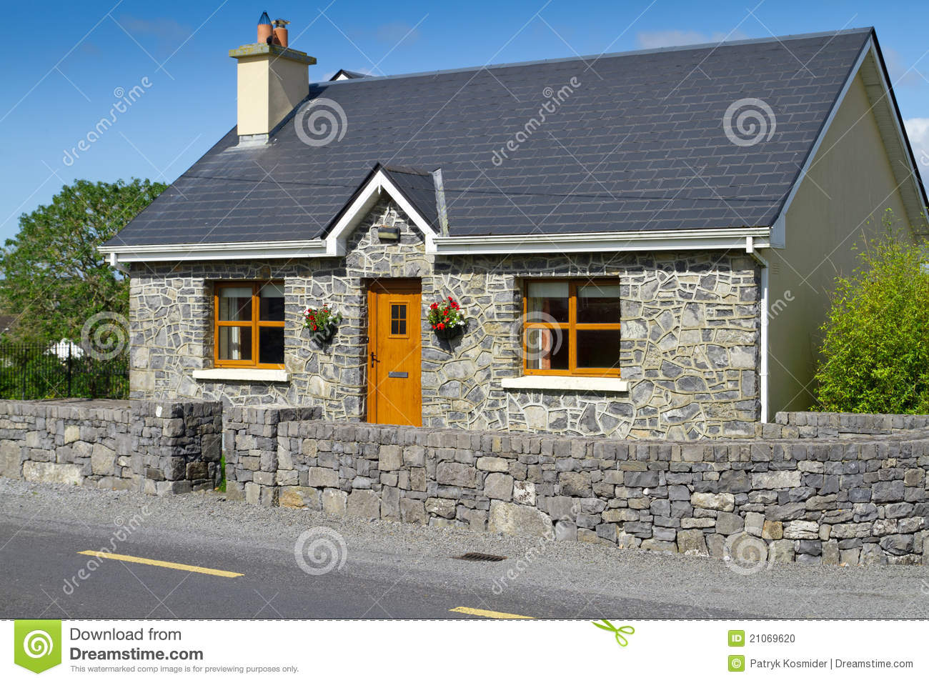 Irish stone cottage house stock photo image of quaint for Stone cottage plans and photos