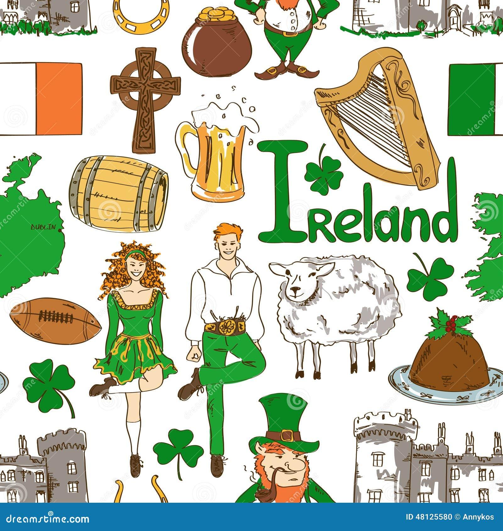 Irish Symbols Seamless Pattern Stock Vector Image 48125580