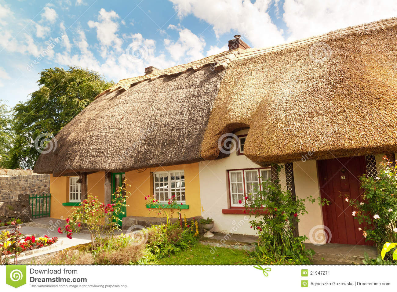 Stock image irish traditional cottage house image 21947271 for Traditional irish cottage designs