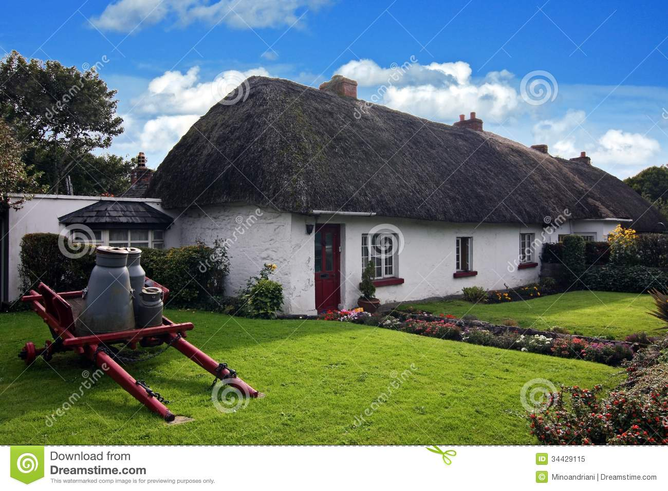Irish traditional cottage house of adare stock image for Traditional irish cottage designs