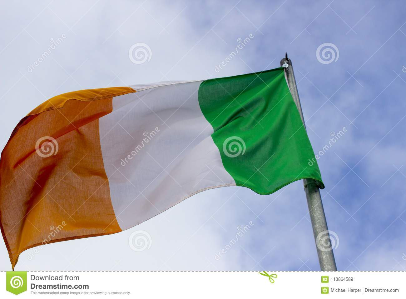 an irish tricolour the national flag of the republic of ireland
