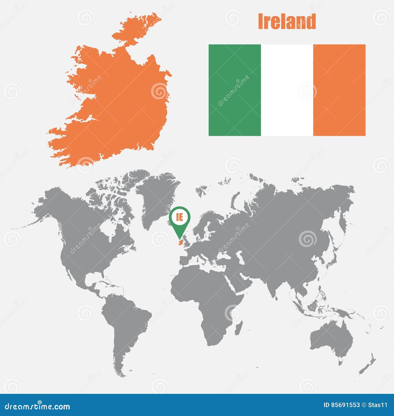 Irland Karte Auf Einer Weltkarte Mit Flaggen Und Kartenzeiger
