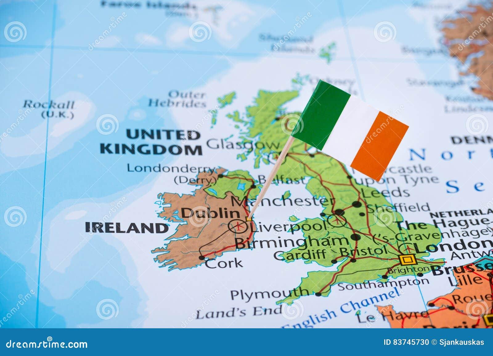 Irland Karte.Irland Karte Reise Auswanderungskonzeptbild Stockfoto