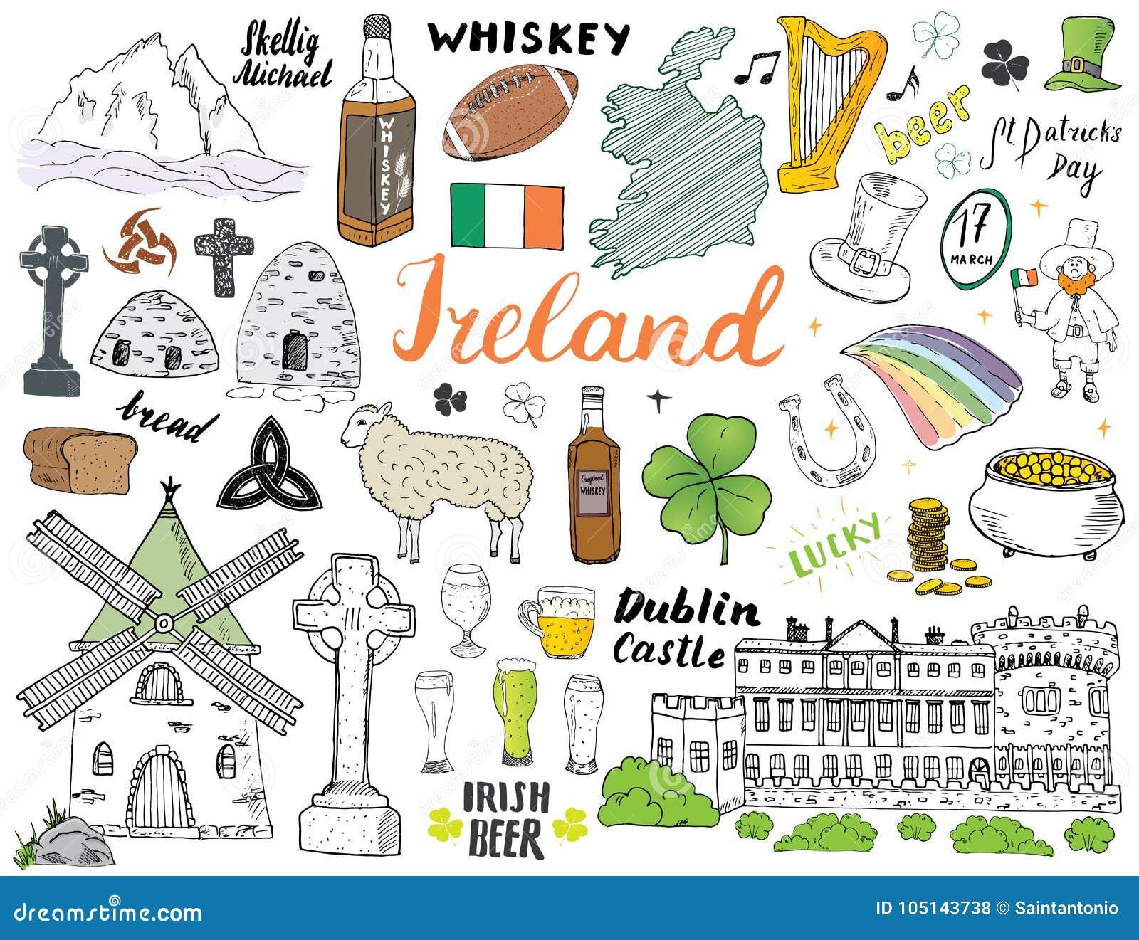Irland Karte.Irland Skizzen Gekritzel Ubergeben Sie Gezogenen Irischen