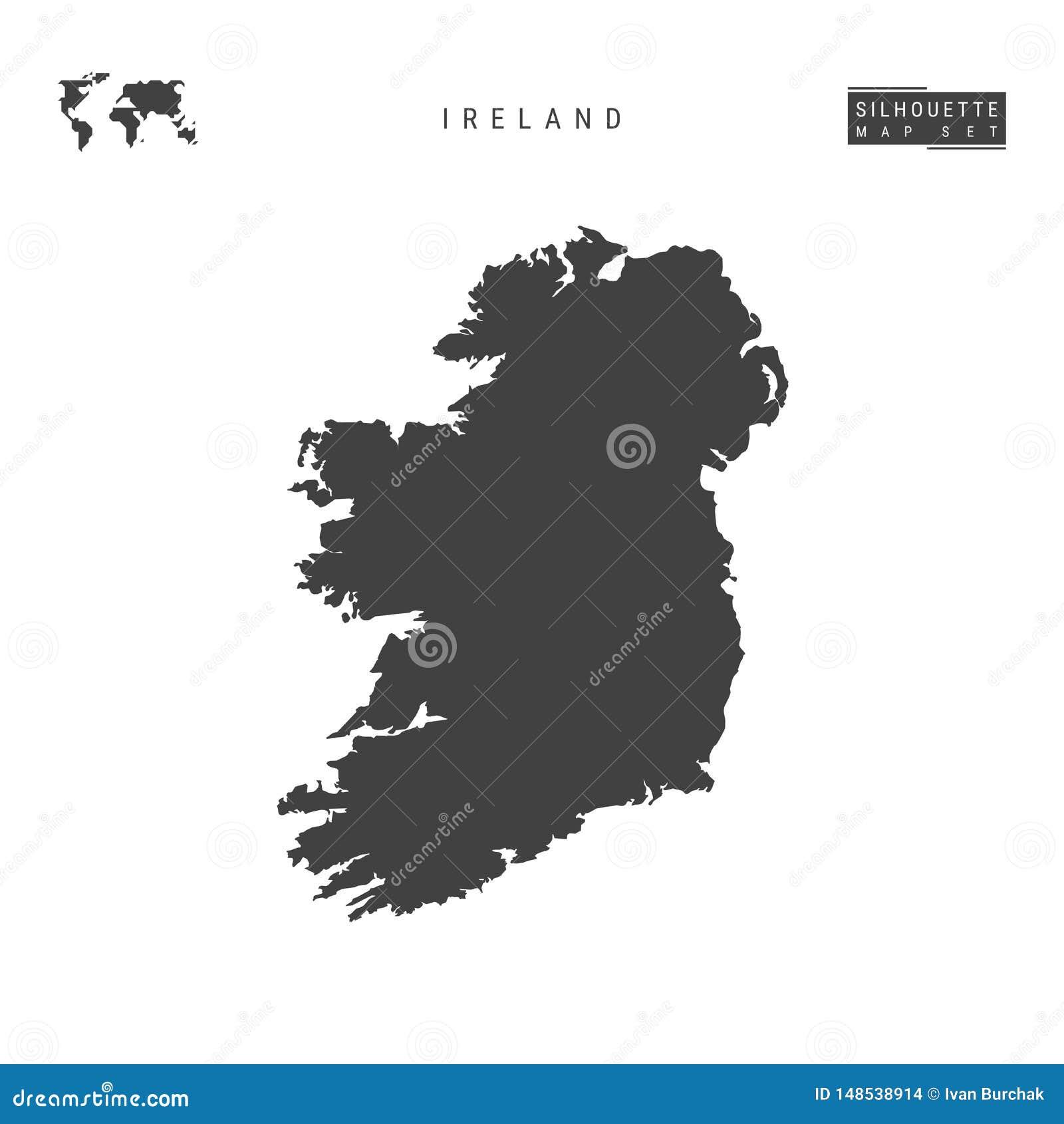 Irland-Vektorkarte lokalisiert auf wei?em Hintergrund Hoch-ausführliche schwarze Schattenbild-Karte von Irland
