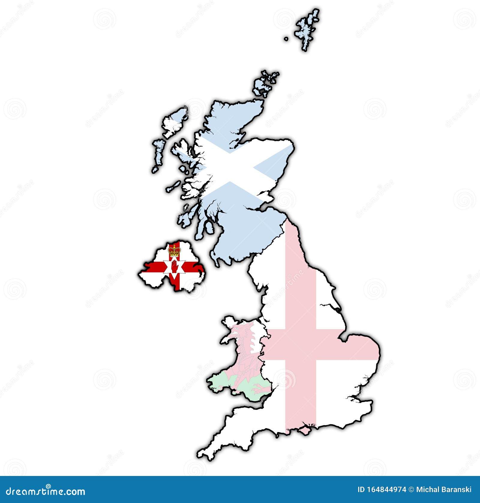 Irlanda Del Norte En El Mapa Político Del Reino Unido Stock De Ilustración Ilustración De Indicador Frontera 164844974