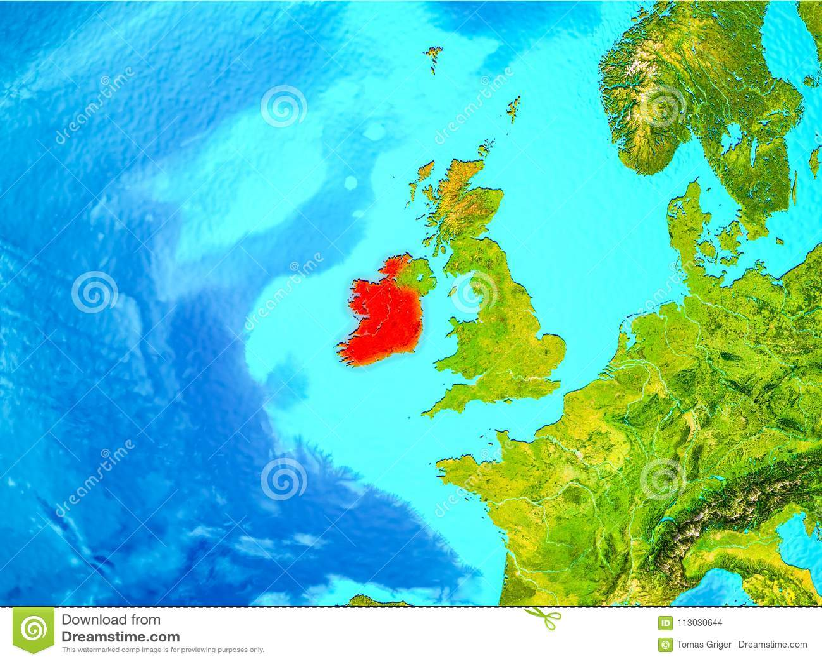 Irlanda en rojo en la tierra