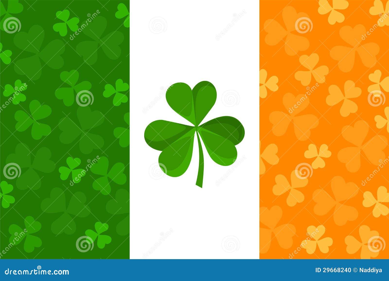 Irlandczyk flaga z shamrock wzorem.