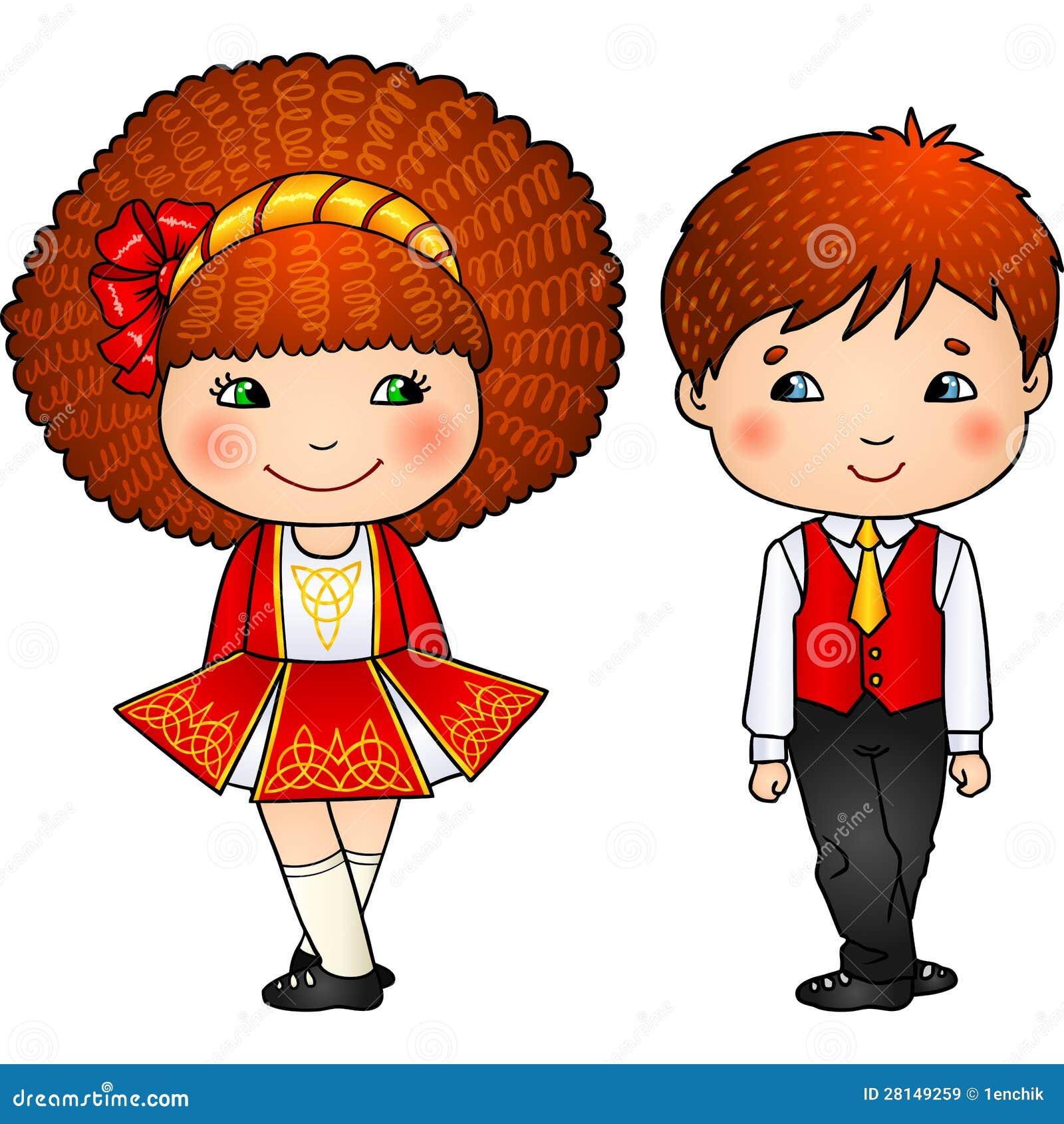 Irlandzcy tanów dzieciaki w tradycyjnych kostiumach