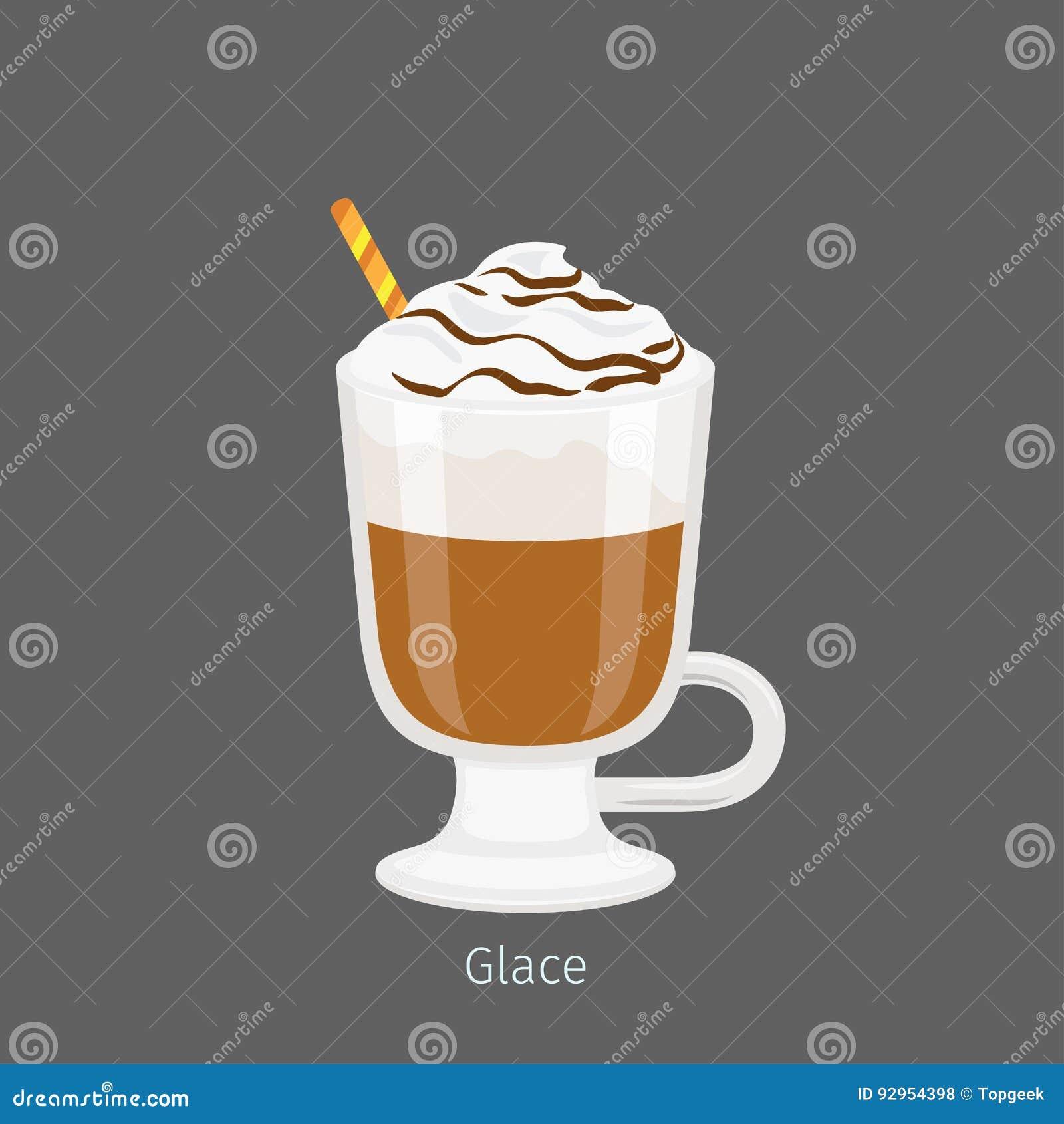 Irlandzki Szklany kubek z Kawowym Glace Płaskim wektorem
