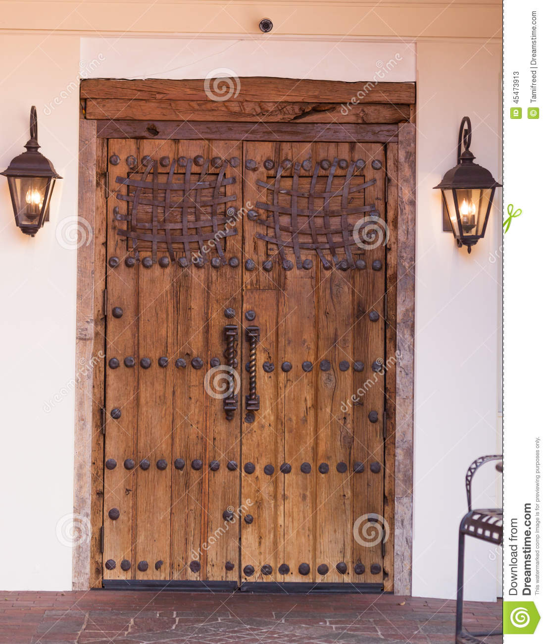 Iron Accented Doors Stock Image Image Of Boards