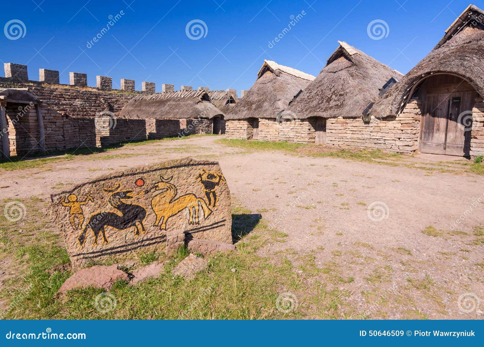 Iron Age Symbols In Eketorp Castle Stock Image Image Of