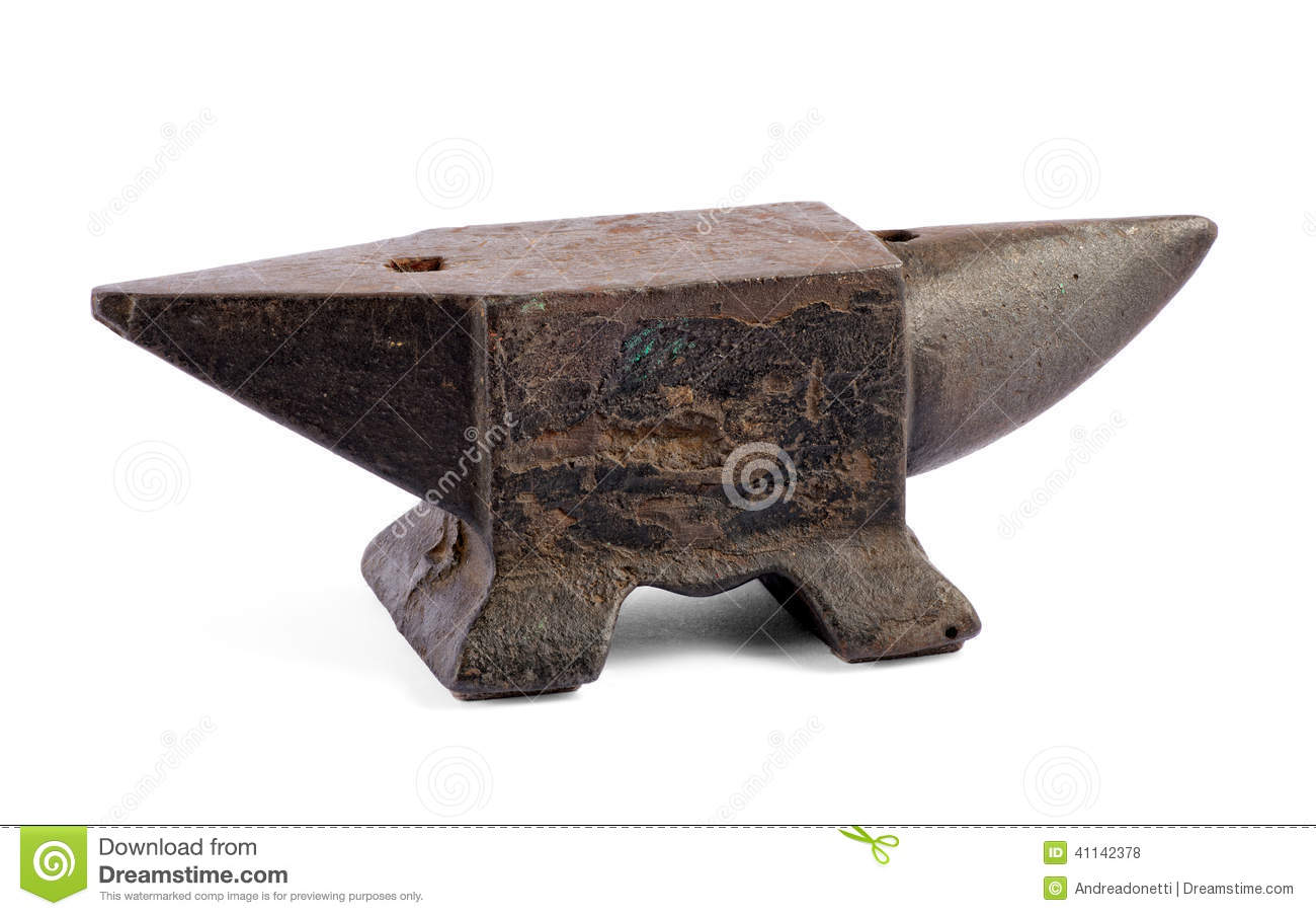 Iron anvil for forging metal stock photo image