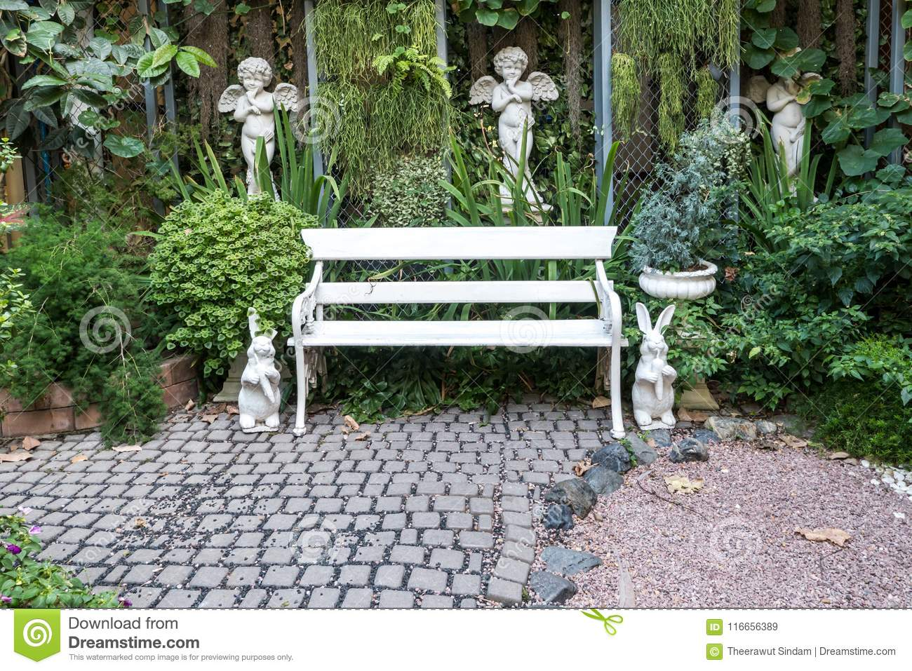 Strange Iron Bench In Garden With Small Background Stock Image Bralicious Painted Fabric Chair Ideas Braliciousco