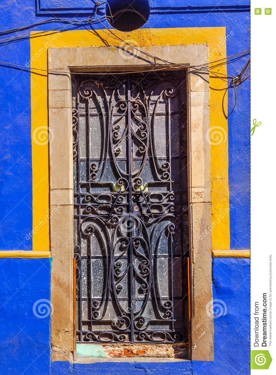 Iron Blue Yellow Door Guanajuato Mexico
