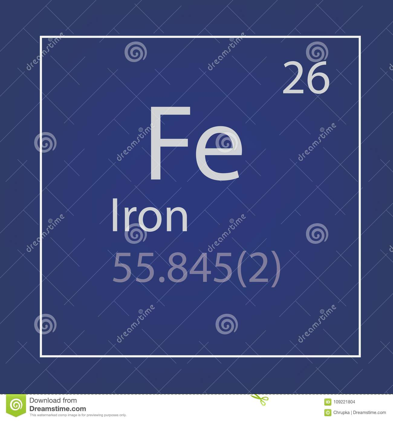 Iron Fe Chemical Element Icon Stock Vector Illustration Of
