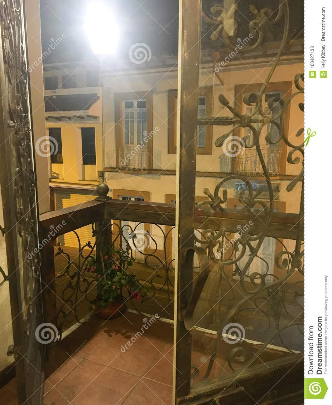 Iron French Doors On Balcony Cuenca Stock Photo Image Of