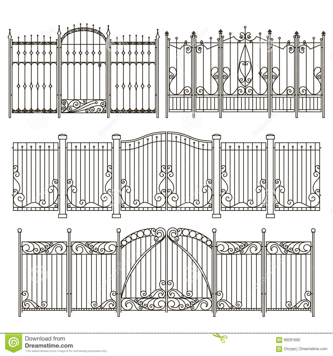 Metal fence design Privacy Iron Gate And Fence Design With Different Decorative Elements Vector Illustrations Custom Bedroom Doors Thecupcakestop Iron Gate And Fence Design With Different Decorative Elements