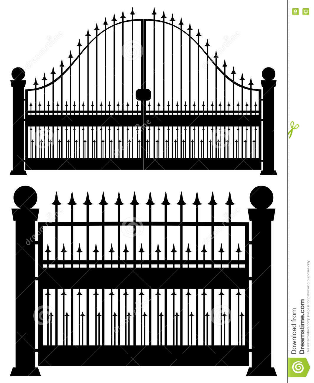 Iron Gate Silhouette stock vector. Illustration of design - 79370128