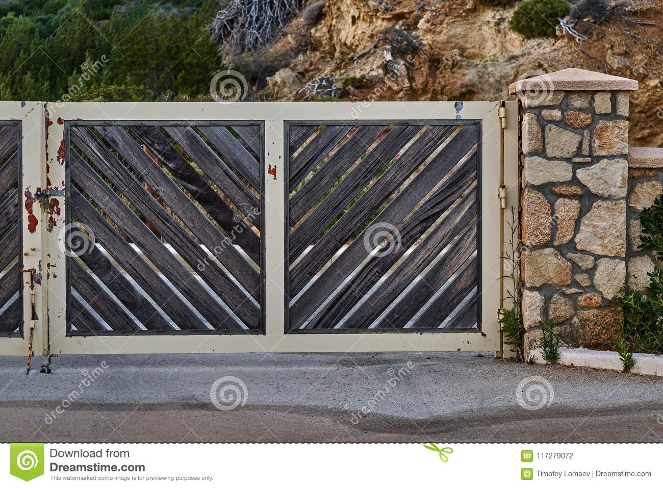 Iron Gate With Stone Pillar Stock Photo - Image of