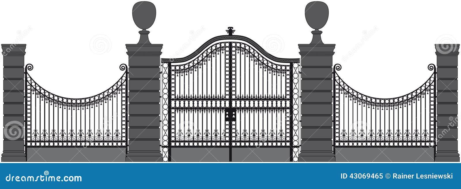 Iron gate stock vector image