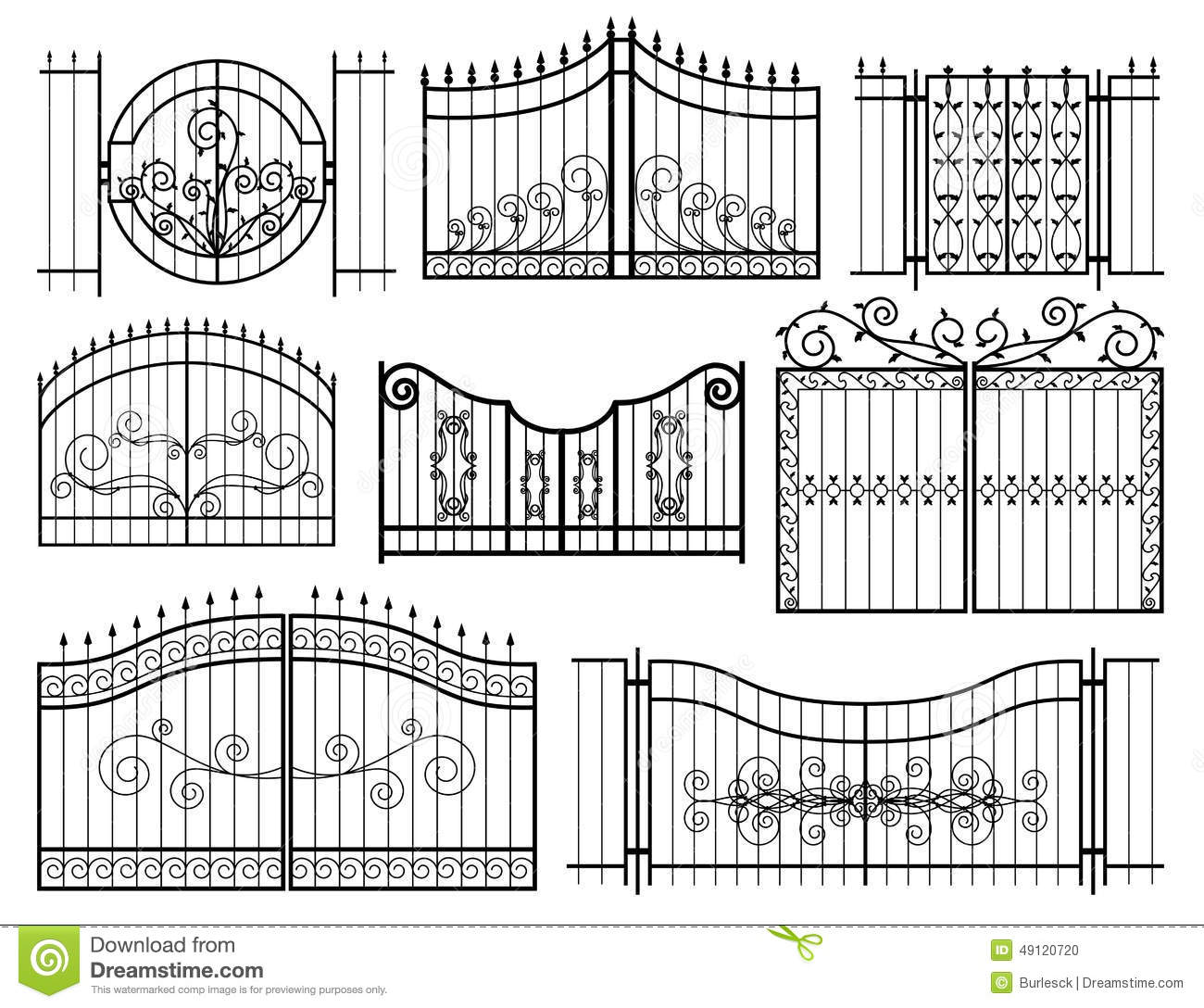 Iron Gates Icons Stock Vector Image 49120720