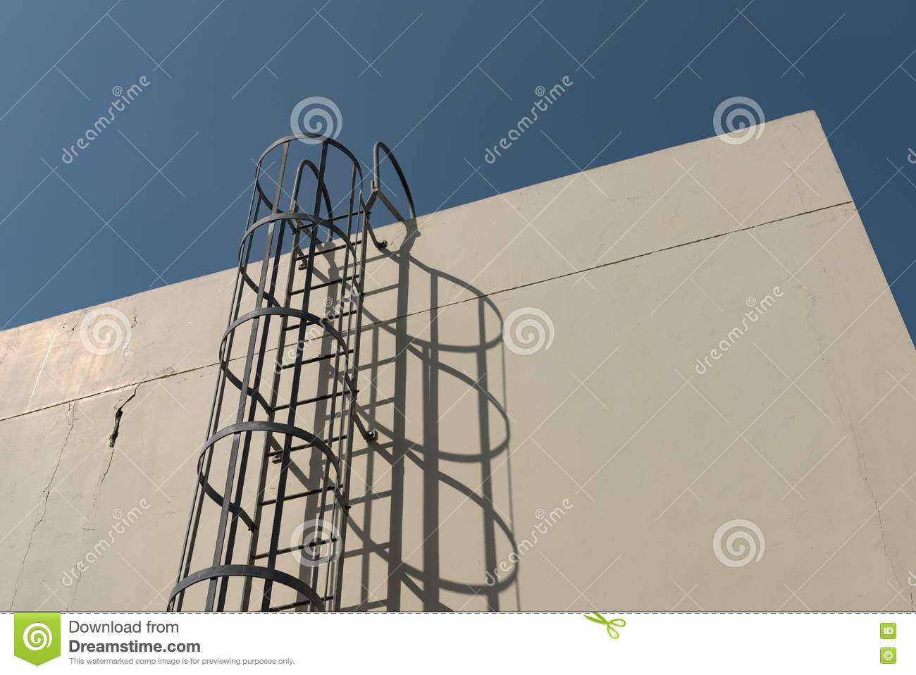 Iron ladder in cage to building roof top