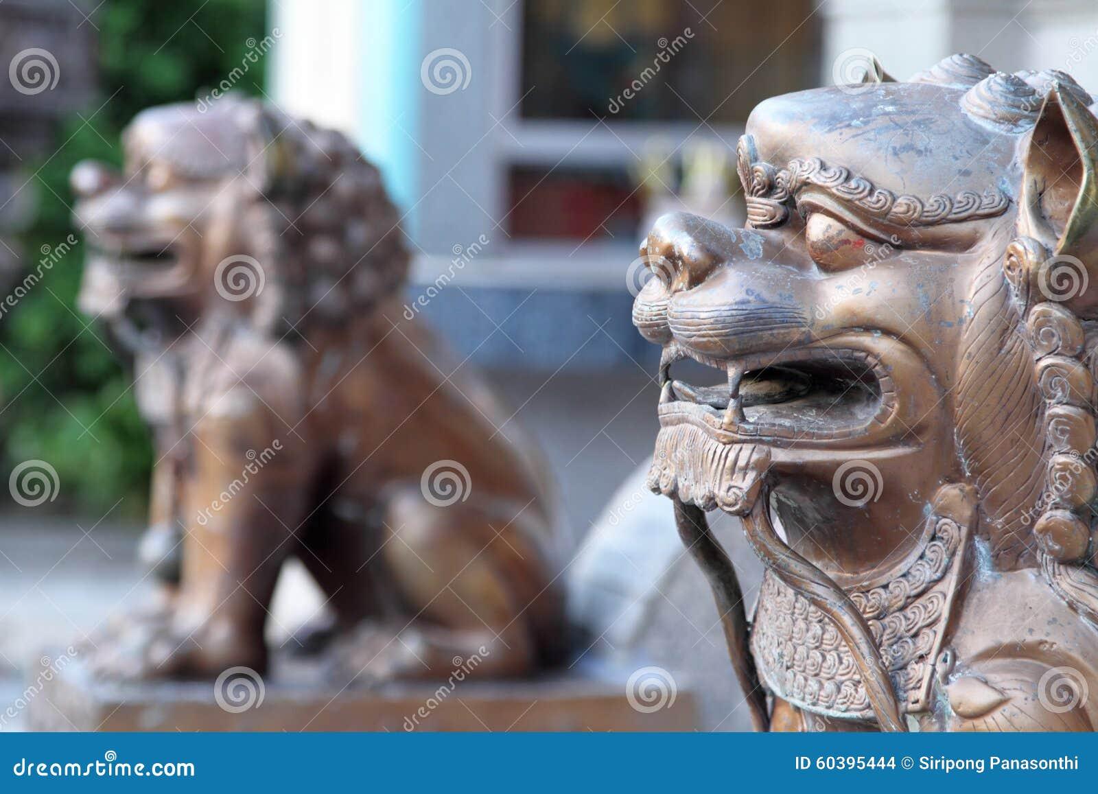 Iron lion statues