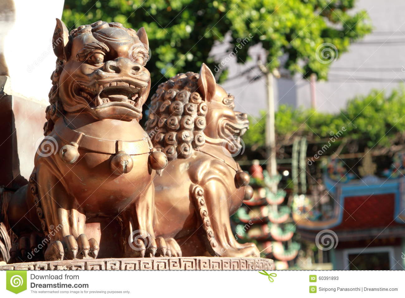 Iron Lion Statues In Chinese Temple Stock Image Image Of Ancient