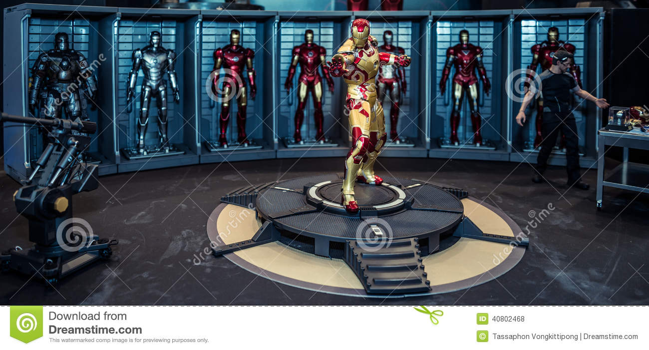 iron man mark 42 model room on display editorial stock photo