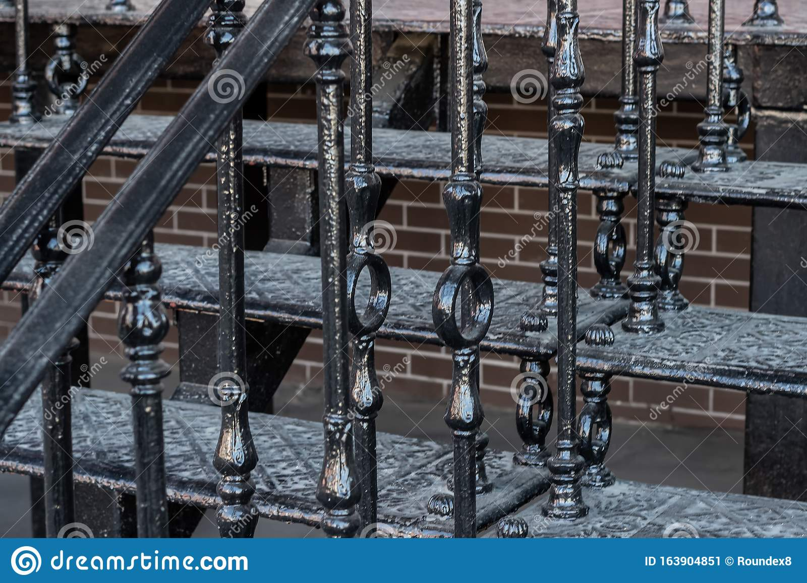 Metal Staircase And Wrought Iron Railing Stock Image Image Of Fence Background 163904851