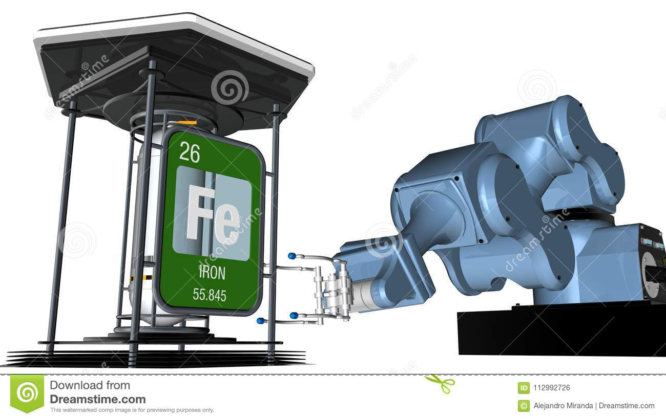 Iron symbol in square shape with metallic edge in front of a mechanical arm that will hold a chemical container. 3D render.