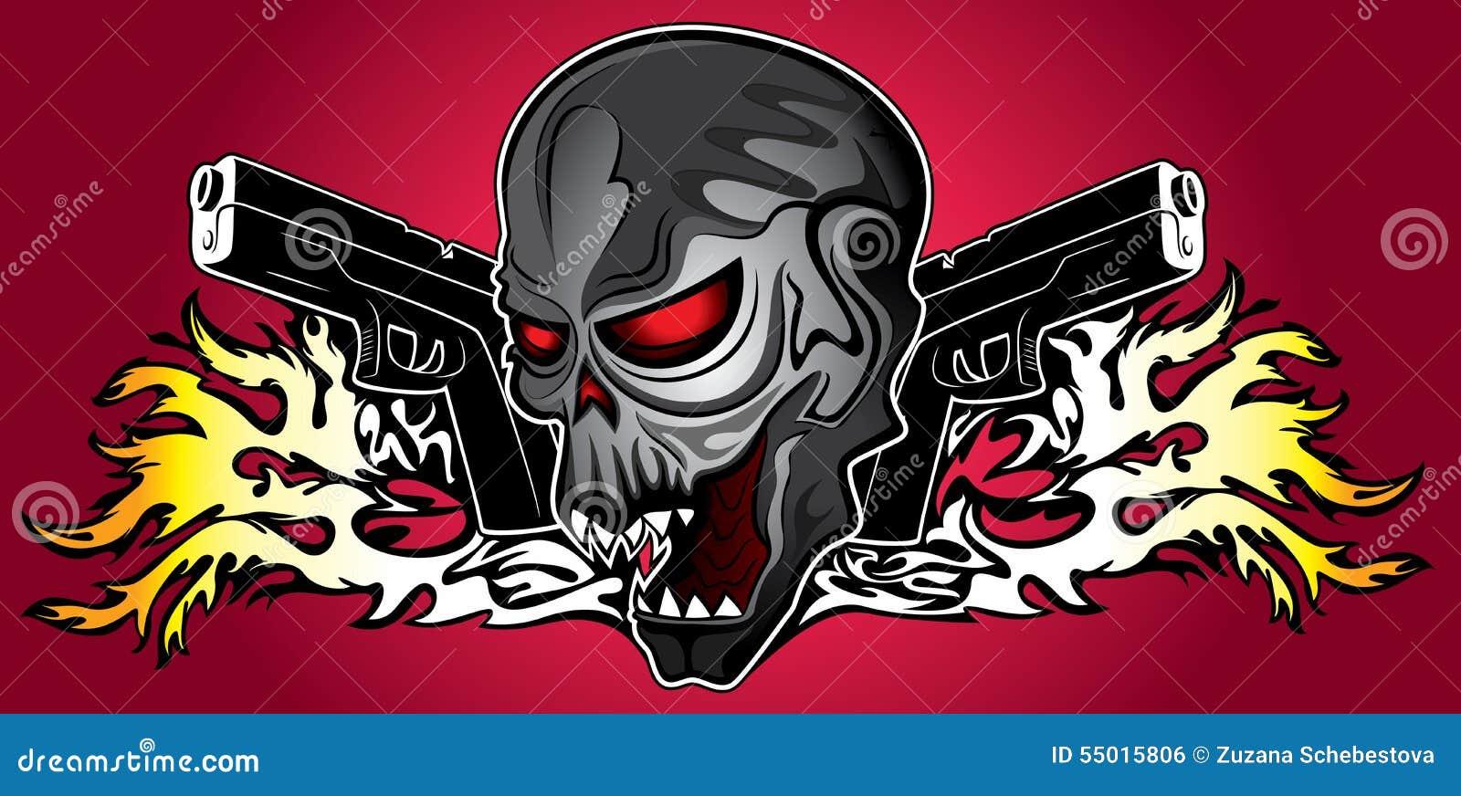 Iron terminator cyber human skull with pistols and fire flames iron terminator cyber human skull with pistols and fire flames background voltagebd Gallery