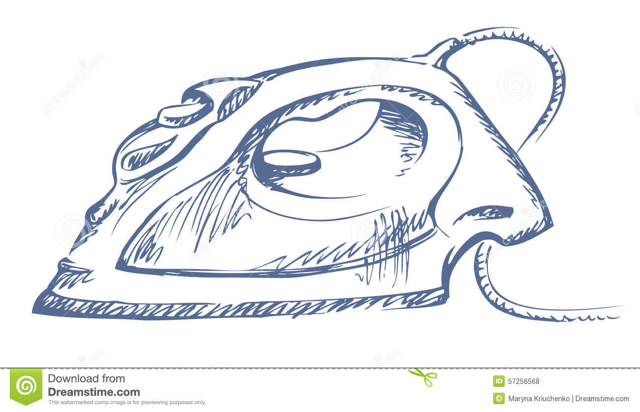 Drawing Steam Iron ~ Iron vector sketch stock image