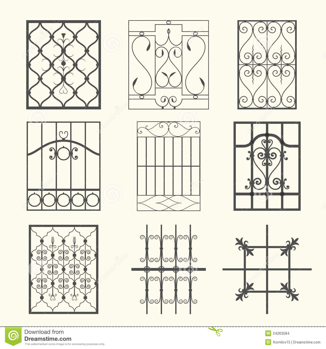 Iron window grills stock vector illustration of for Window design clipart