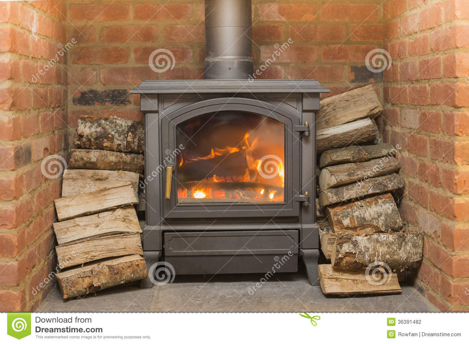 wood burning stove stock photography image 36391482