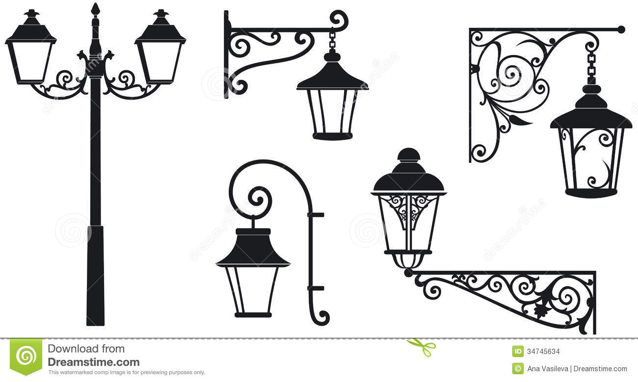 Iron Wrought Lanterns With Decorative Ornaments Stock