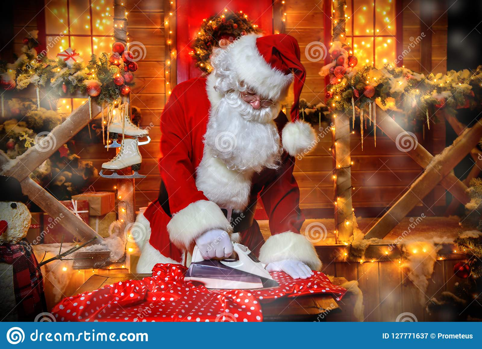 Ironing clothes santa