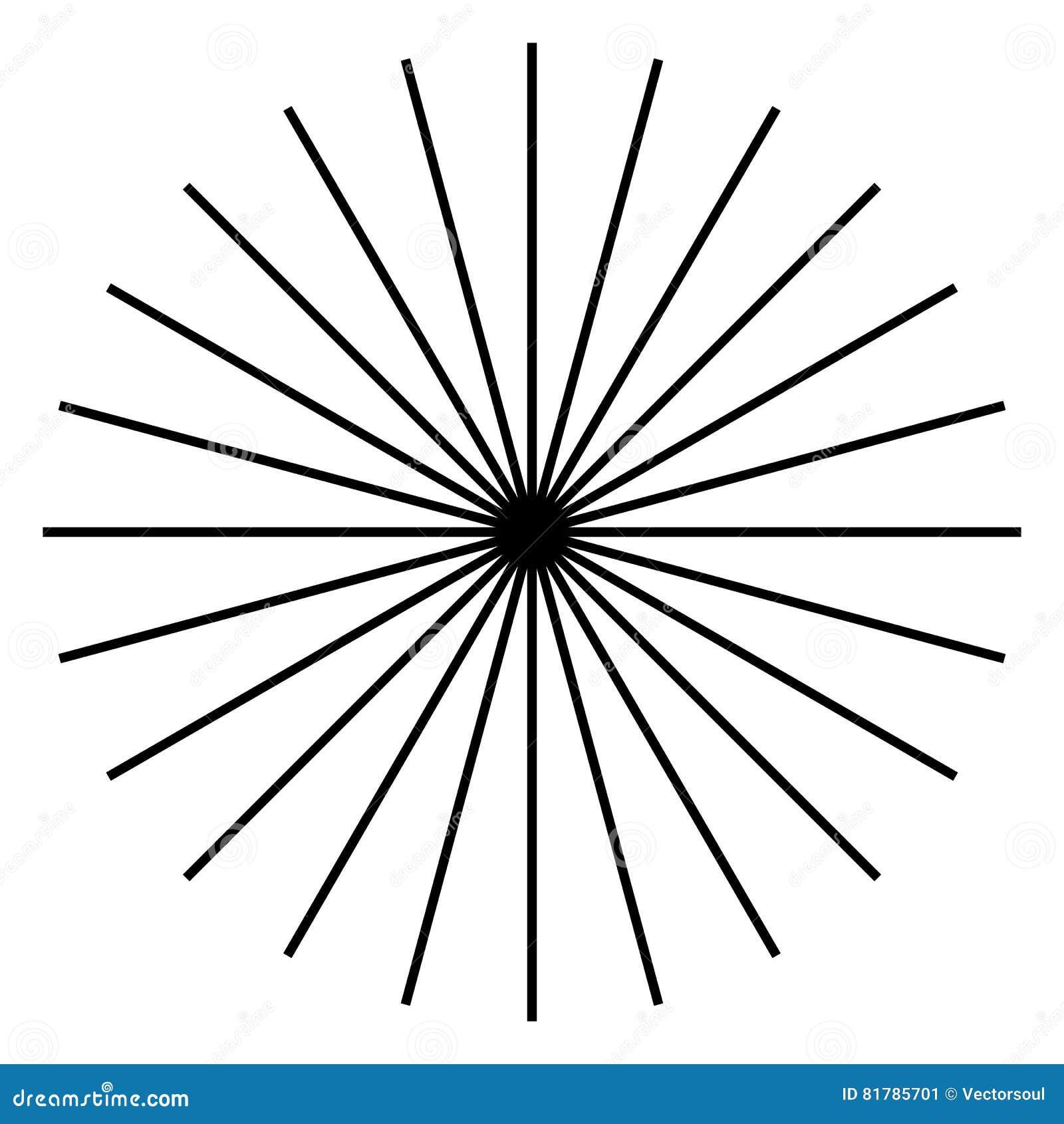 Irradiando, líneas radiales Starburst, forma del resplandor solar Ray, li del haz