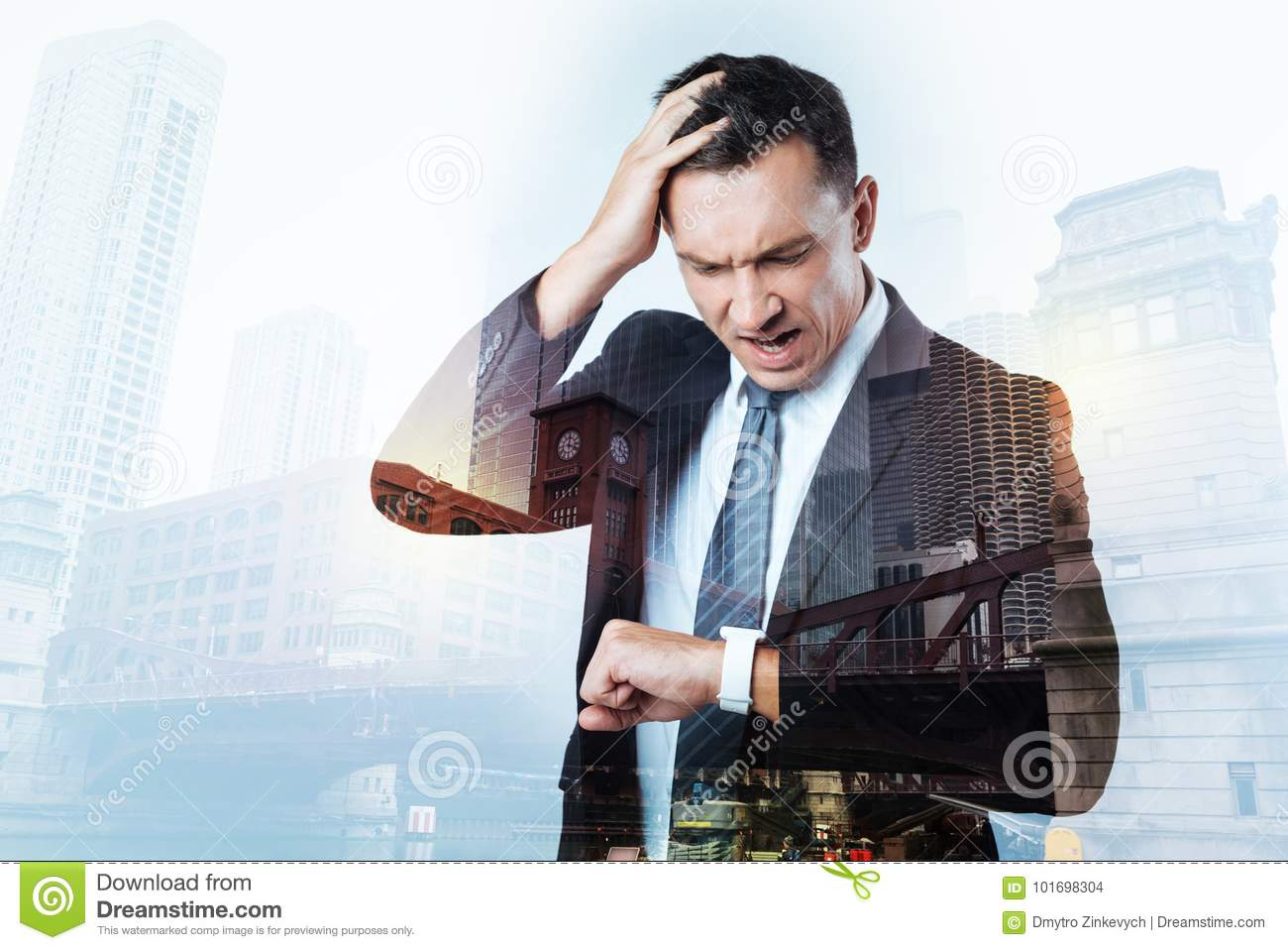Irritated Busy Man Having Too Little Time Stock Photo