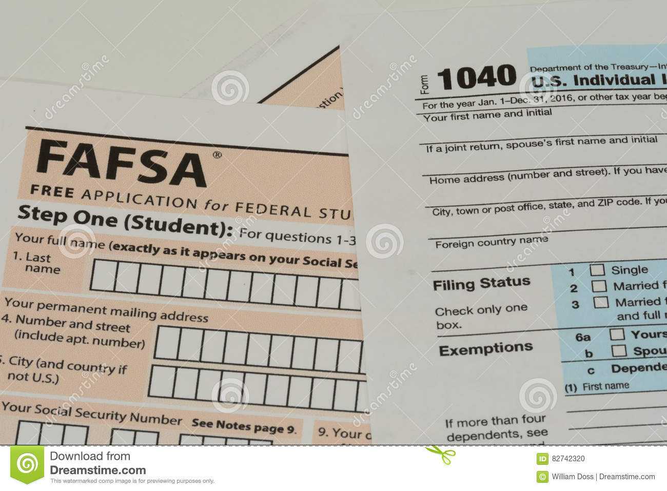 IRS and FAFSA tax forms
