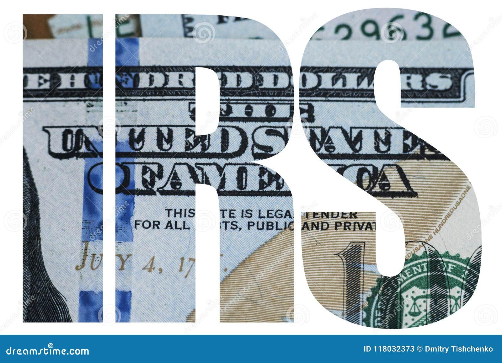 IRS, fim americano do macro do dinheiro acima da cara do ` s de Ben Franklin na nota de dólar dos E.U. 100