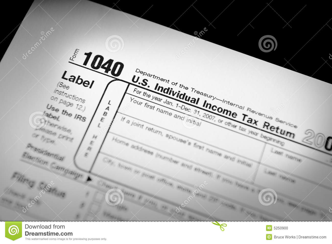Irs Form 1040 Stock Photo Image Of 1040 Dependents Revenue 5250900
