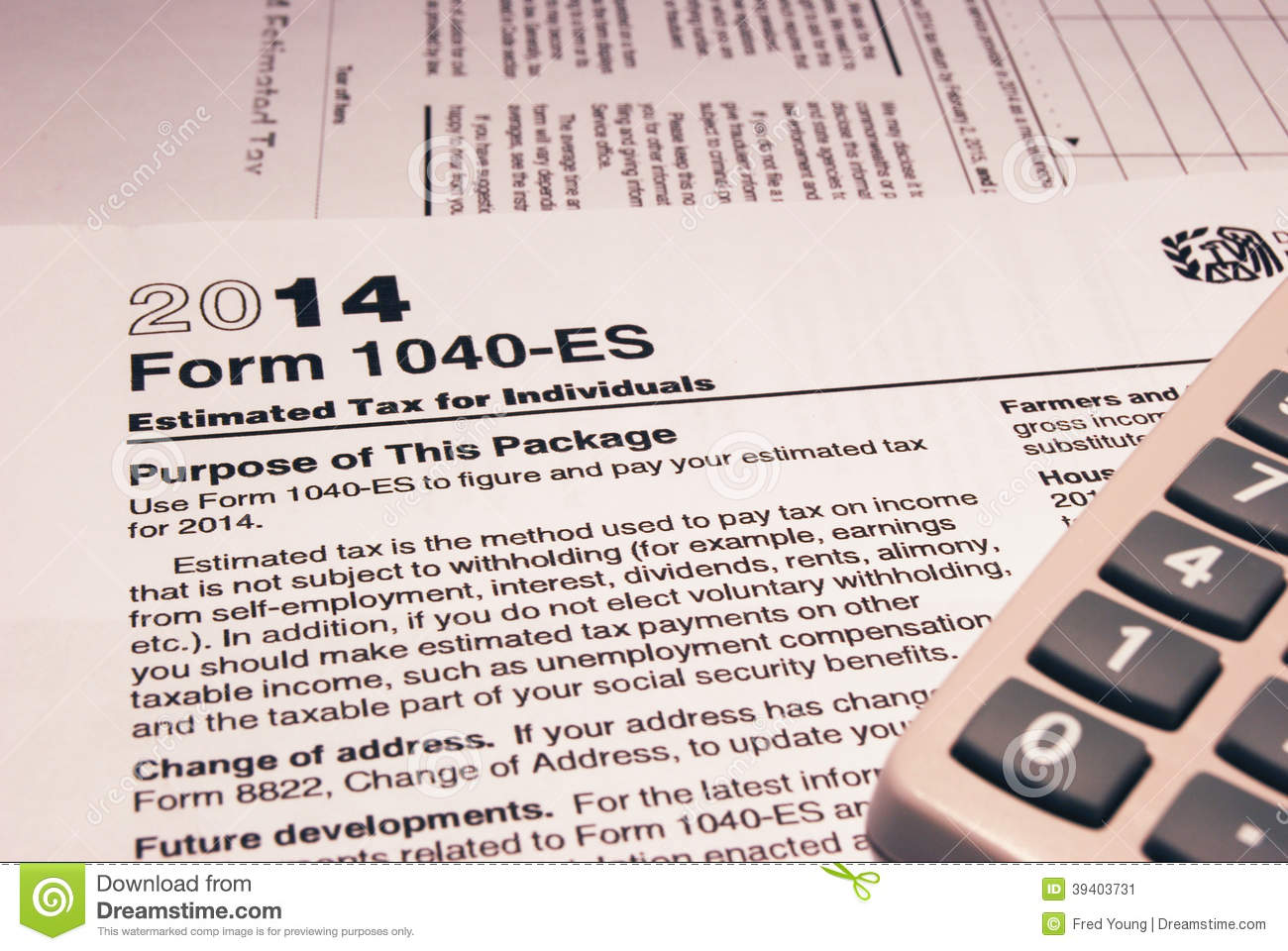 IRS Form 1040-ES Editorial Photo - Image: 39403731