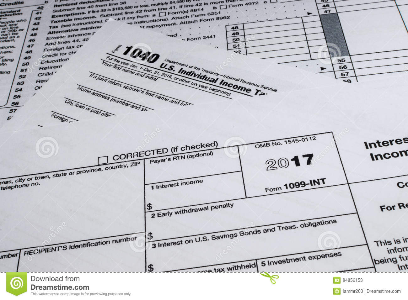 IRS Form 1099-INT: Interest Income Editorial Stock Photo - Image ...