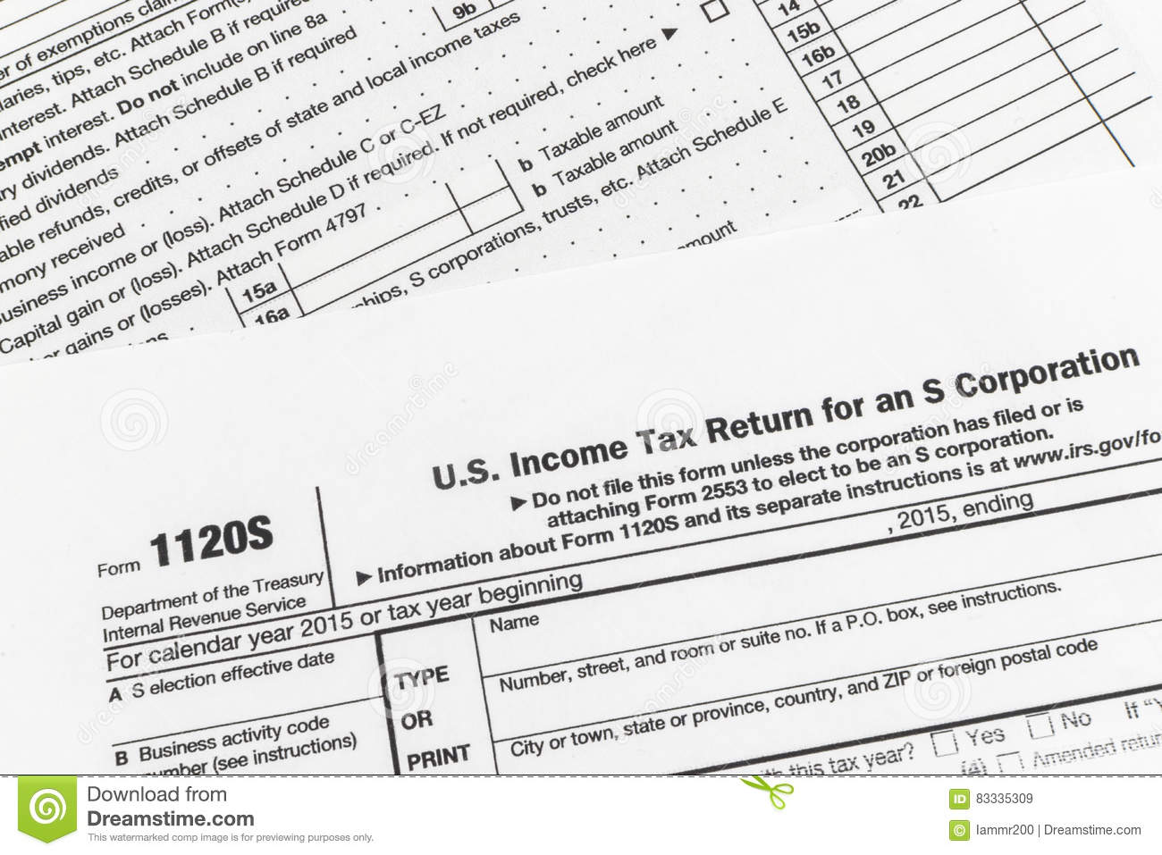 IRS Form 1120S Small Corporation Income Tax Return Editorial Stock ...
