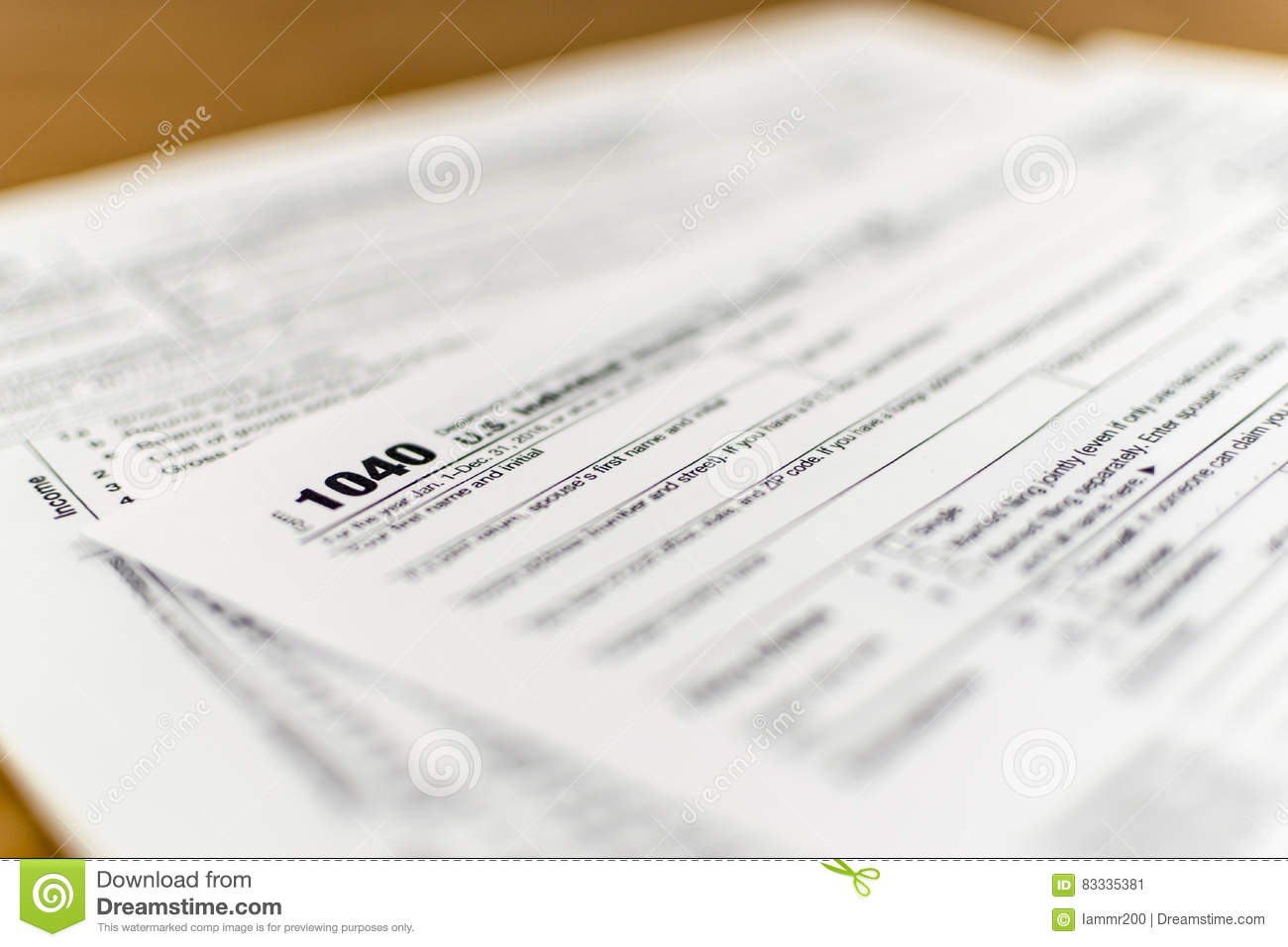 IRS Form 1040 US Individual Income Tax Return Form Stock