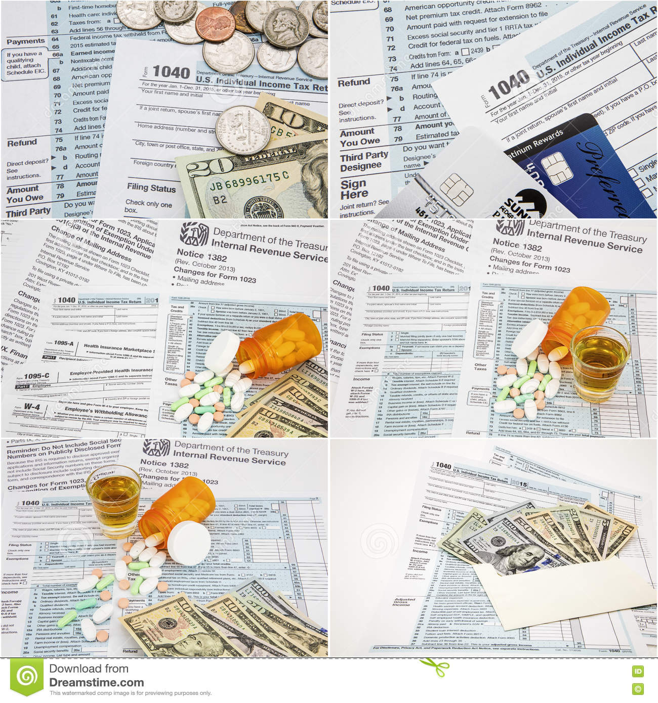 Irs income tax time forms 1040 narcotics drugs money collage stock irs income tax time forms 1040 narcotics drugs money collage falaconquin