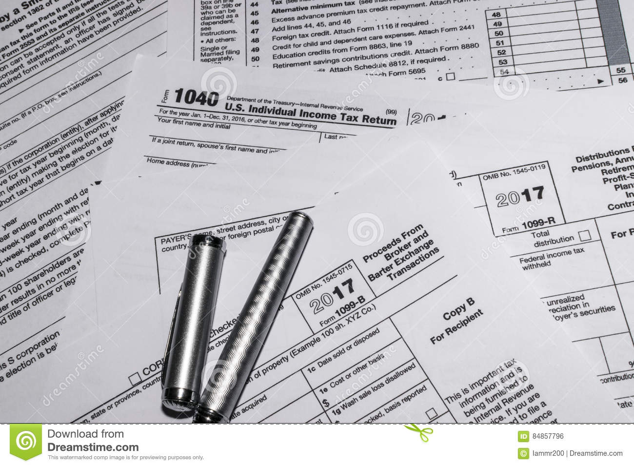 Irs Tax Forms 1040 And 1099 B Editorial Photo Image Of Taxes