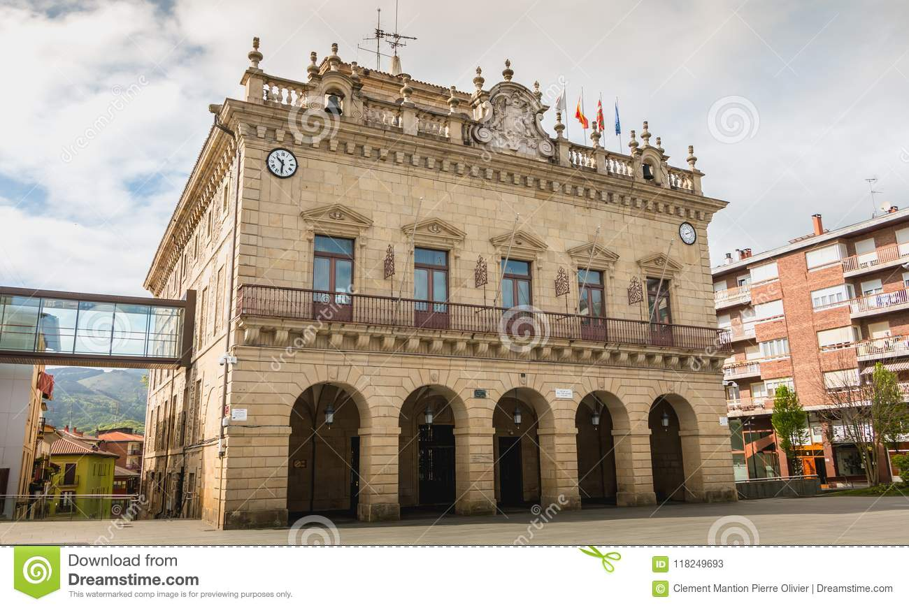 Architectural Detail Of City Hall Of Irun In Spain Editorial Stock ...